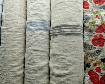 UK store Upholstery linen OEKO Tex Certified linen fabric undyed, stripy, poppy print different weight/ French grain sack material