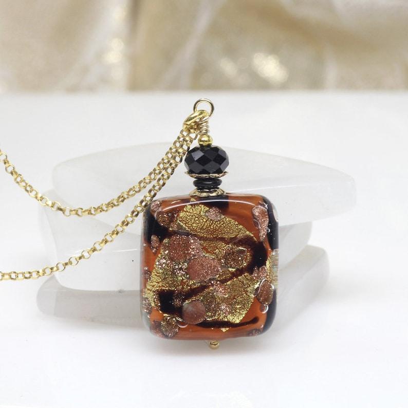 be21b3415c3 Warm Brown Black Gold Venetian Murano Pendant Murano Glass   Etsy