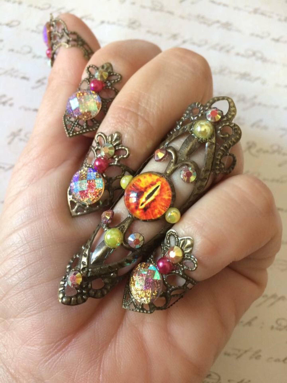 Dragon eye nail rings set cosplay claws nail rings