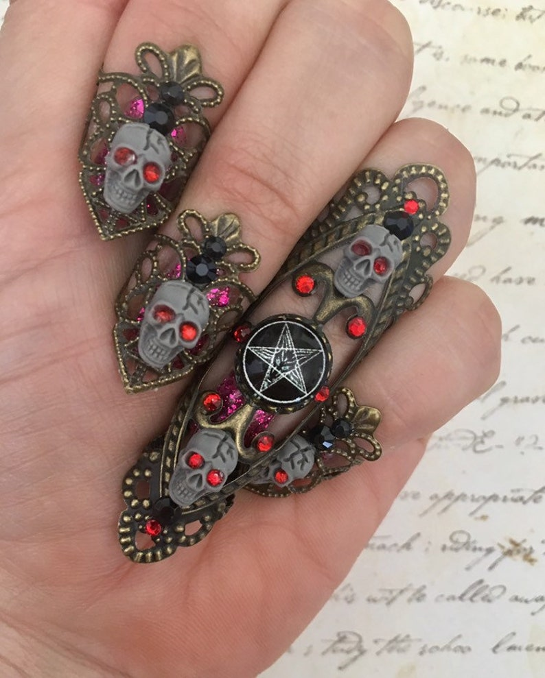 Necromancy nail ring set baphomet nail rings Lucifer image 0