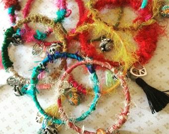 Boho bangles, wanderlust recycled sari bangles, handmade