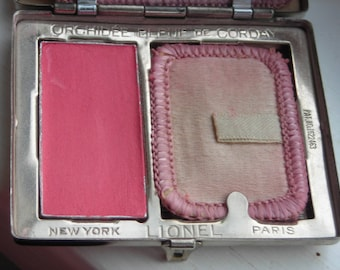 1920s Lionel double compact with powder & rouge. Made with Corday Orchidee Bleue scent.