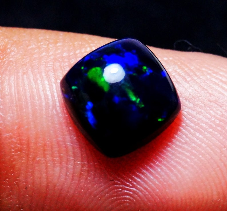 9x9x5 mm Calibrated Black Opal Gemstone 1.70 Carat For Use Jewelry Making Black Ethiopian Opals Gemstones Multi Fire Black Opal Cabochons