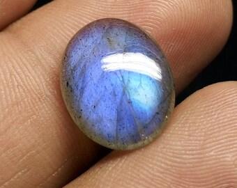 100% Natural Labradorite Oval Cabochon Gemstone / 16x13x4mm Nice Blue Flashy Fire Labradorite / Smooth Labradorite Gemstones