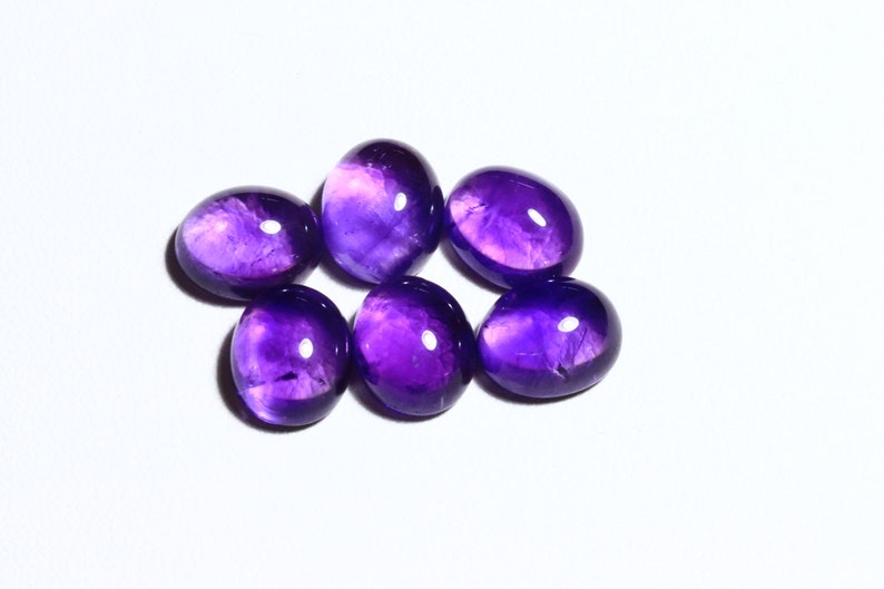 Natural Amethyst Cabochon 8x6mm 9x7mm 10x8mm 11x9mm Oval Calibrated Size Gemstone 5 pieces LOT