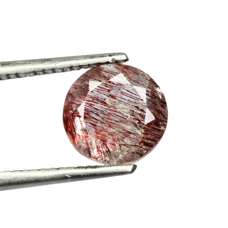 1.35 Cts Cocoxenite Stone Round Cut Stone 7x7x4mm Super Seven Round Stone Loose Gemstone Lepidocrocite Gemstone
