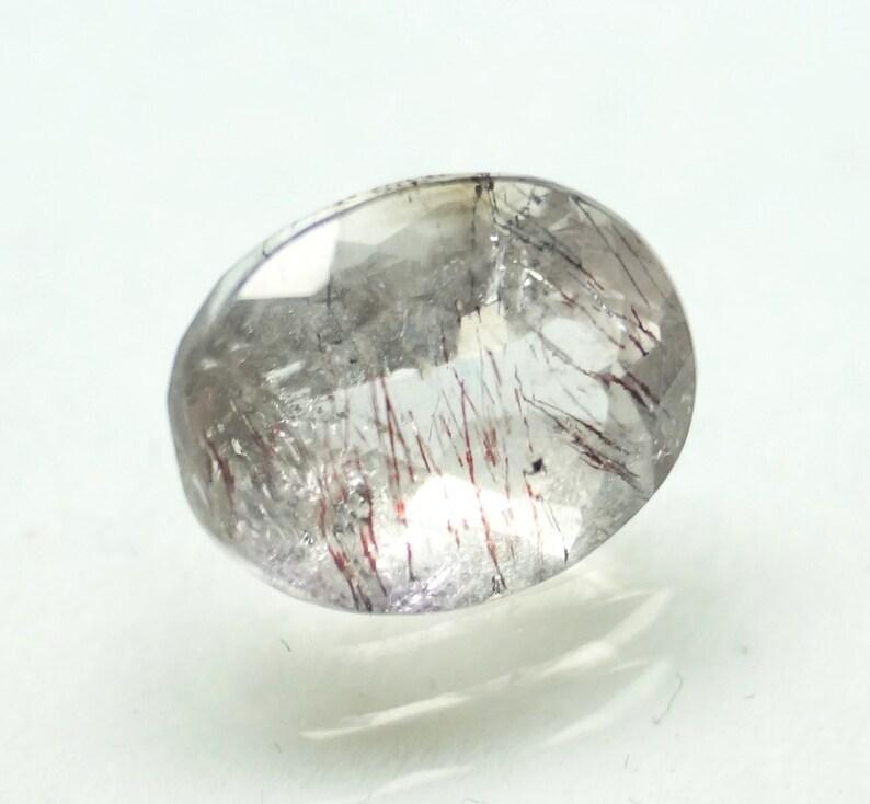 White Crystal Super Seven Gemstone Faceted Super Seven Oval Cut Gems 3.00 Carat Huge Size 10.4x8.2x6 mm