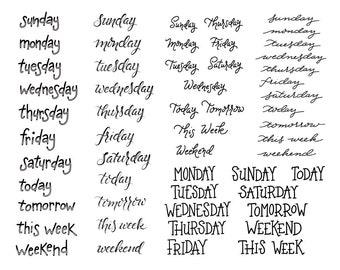 Days of the Week Stickers / Bullet Journal Planner / Printable PDF Download