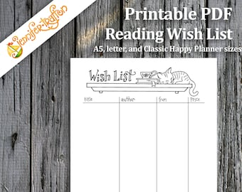 Reading Wish List / Books / Bullet Journal / Planner  / Instant Download Printable PDF / Coloring / Cats