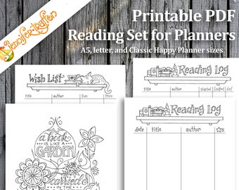 Reading Set / Book Garden Log Wish List Planner Pages / Bullet Journal / Instant Printable Download PDF / Coloring