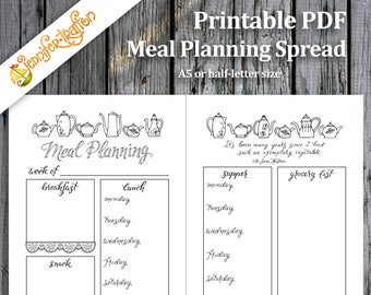 Weekly Meal Planning Bullet Journal Spread / Jane Austen Quote / Download Printable PDF Planner Insert Hand Lettered Hand Drawn Coloring