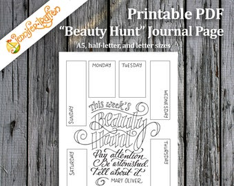 Beauty Hunt Bullet Journal Planner Insert / Printable PDF Instant Download / Mary Oliver Quote / Hand-lettered Coloring Page