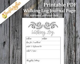 Walking Log Bullet Journal Planner Insert / Printable PDF Planner Insert Hand Lettered Hand Drawn Coloring Exercise Mindfulness