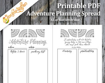 Adventure Planning Bullet Journal Travel Spread /Jane Austen Quote / Printable PDF Planner Insert Hand Lettered Hand Drawn Coloring