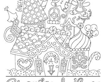 Gingerbread House / Christmas Coloring Page / Kids Holiday / Slugs and Bugs / Printable Download PDF