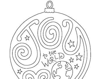 Joy to the World Christmas Coloring Page / Kids Holiday / Slugs and Bugs / Printable Download PDF