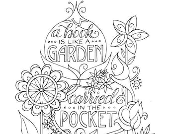 Book Garden Coloring Page / Planner Bullet Journal Insert / Instant Download Printable PDF / Reading Quotes
