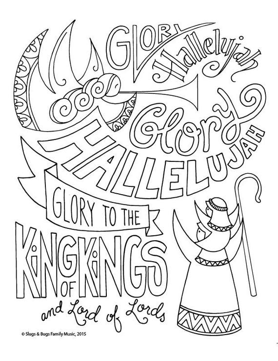 Glory Hallelujah Shepherd Dad Christmas Coloring Page