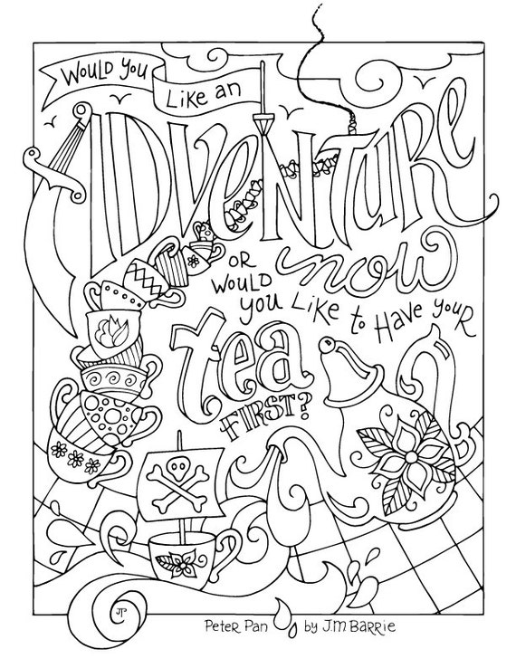 Peter Pan Coloring Page / JM Barrie / Quotes / Adventure / | Etsy