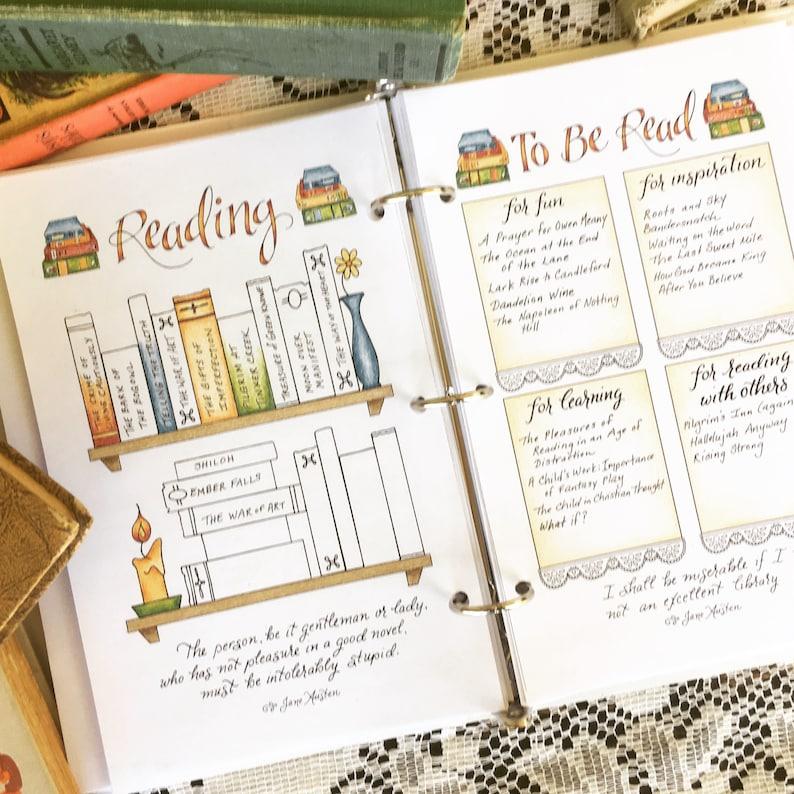 Reading Bookshelf Bullet Journal Spread Jane Austen Quotes Etsy