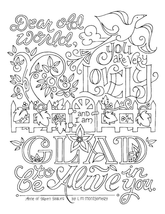Anne of Green Gables Coloring Page / LM Montgomery / Quotes /   Etsy