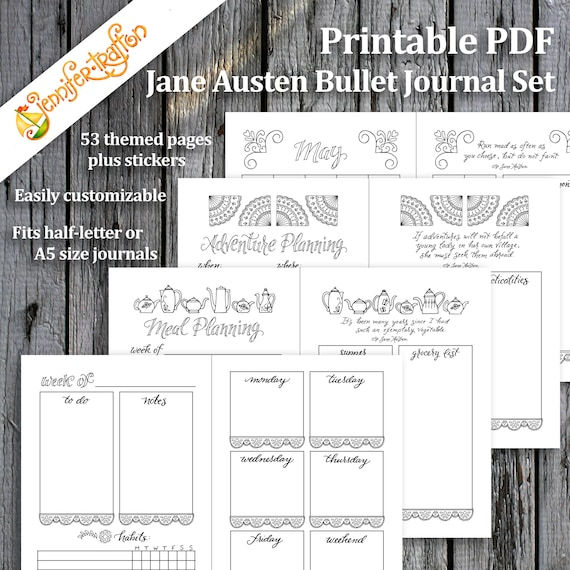 Jane Austen Bullet Journal Planner Set Instant Download Etsy