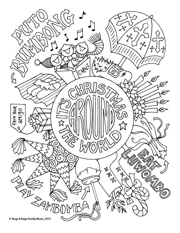 christmas coloring pages different countries | Christmas Around the World Coloring Page / Kids Holiday ...