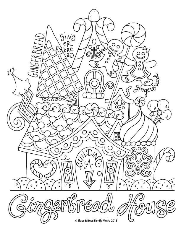 christmas coloring pages to print gingerbread | Gingerbread House / Christmas Coloring Page / Kids Holiday ...