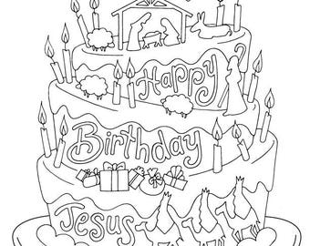 Happy Birthday Jesus / Christmas Coloring Page / Kids Holiday / Slugs and Bugs / Printable Download PDF