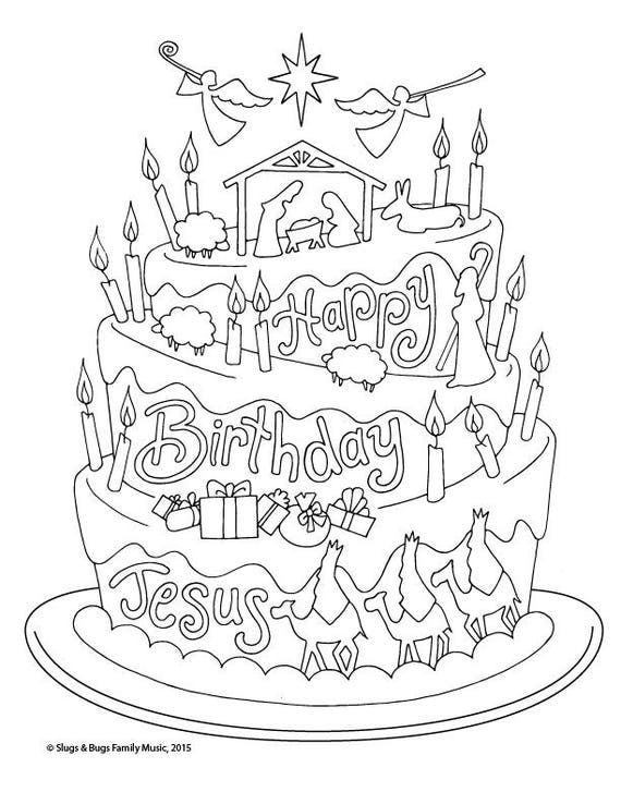 Happy Birthday Jesus / Christmas Coloring Page / Kids ...