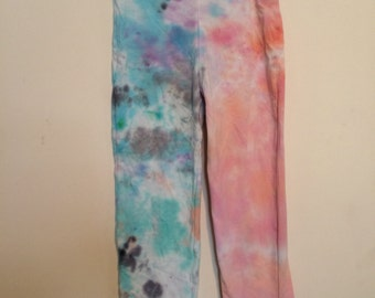 0a4f51bb5a291b CLEARANCE!! Girls size large 10/12 Hanes capri leggings tie dyed in pastel  pink coral gray blue HA893