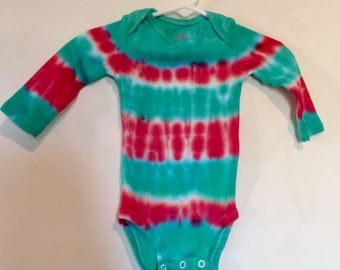 Carter's 3-6mos tie dye long sleeve onesie. Red and green horizontal stripes, Christmas colors, baby's first Christmas gender neutral