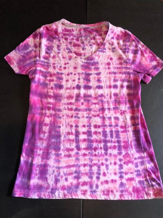 Girls XS Hanes crew sweatshirt tie dyed in a fuchsia burst with spots of blue HA988 Hippie kids