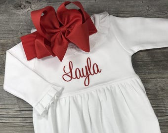 1a17a7dea Monogrammed Christmas Gown with Bow, Personalized Baby Christmas Outfit, Baby  Girl, Headband, Newborn Red and Green Outfit, Pictures, Custom
