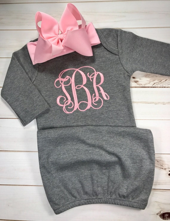 PERSONALIZED Newborn Girl Flower Gown and Hat  set Monogrammed Coming Home OUtfit