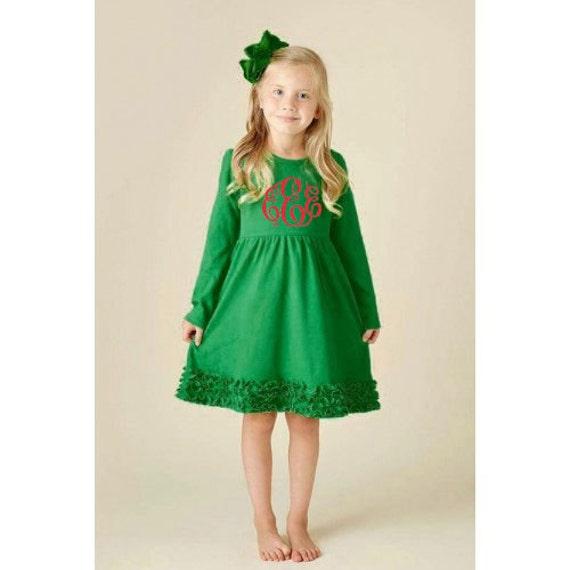 image 0 - Girls Monogrammed Dress Personalized Christmas Dress Holiday Etsy