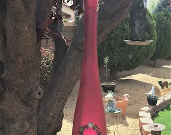 Bird Feeder/Rose Colored Long Neck Bottle