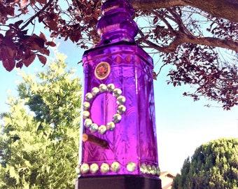 Bird Feeder  Purple Glass Bottle