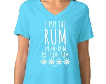 fee15612 Island Jay Ladies I Put The Rum In Pa-Rum Holiday T-Shirt V-Neck