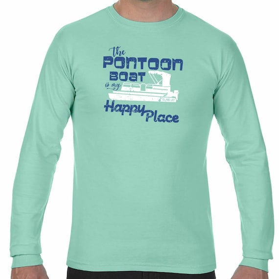 208a637814ab62 Island Jay The Pontoon Boat is my Happy Place Long Sleeve T-Shirt