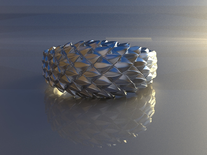 reptile skin,dragon skin ring made of sterling silver,unisex silver ring. Snake scales