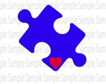 Autism Awareness ASD puzzle piece SVG PNG Cut FIle