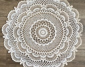 Large crochet doily, table centerpiece, tablecloth, vintage decor, home decor