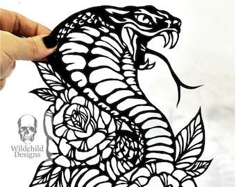 Traditional Cobra & Roses Tattoo Paper Cutting Template, Personal Use, Vinyl Template, SVG, JPEG, Wildchild Designs, Snake Template, Cobra