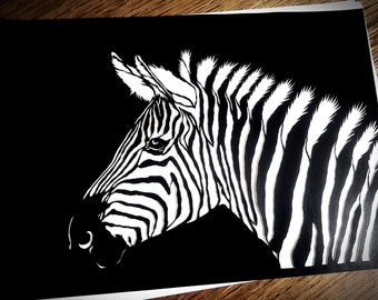 Zebra Paper Cutting Template, Personal Use, Vinyl Template, SVG, JPEG, Zoo Template, Animal Template, Zebra Template, Wildchild Designs