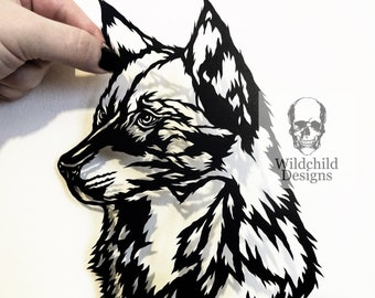 jet wolf head paper cutting template personal use vinyl etsy