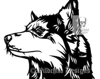 Beauty Papercutting Template, Personal Use, Vinyl Template, Husky Template, Husky Clipart, SVG, JPEG, Wolf Paper Cutting Template,