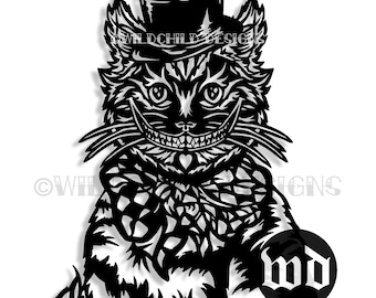 Cheshire Cat Paper Cutting Template Alice In Wonderland Personal Use Vinyl JPEG SVG All Mad Here