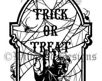 Trick or Treat Grave Paper Cutting Template, Personal Use, Vinyl Template, SVG, JPEG, Zombie Template, Zombie Clipart, Halloween Template