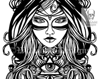 gothic witch papercutting template vinyl template commercial etsy